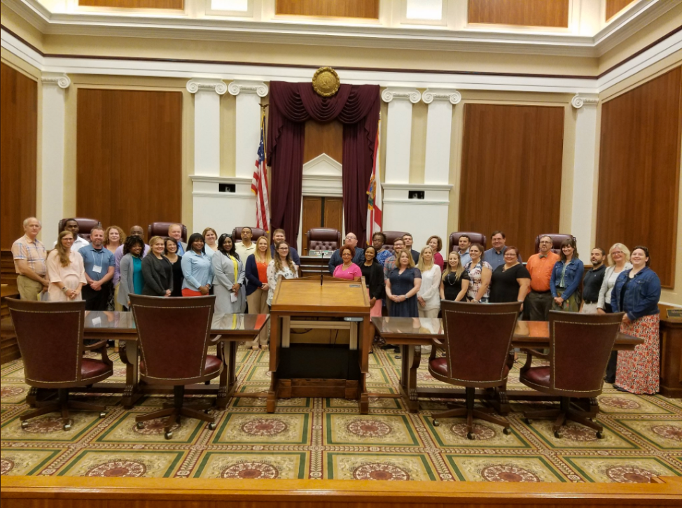 JMLP Florida Summer Institute participants in the Florida Legislature Committee Hearing Room where they conducted their simulated congressional hearing