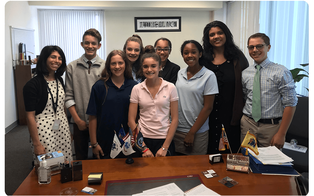 Students from Montclair Kimberly Academy with Assemblywoman Britnee N. Timberlake of New Jersey (second from right). Teacher CherylAnne Amendola, the 2017 New Jersey History Teacher of the Year, is at the far left. Amendola teaches Project Citizen to her eighth-graders. She writes, Over the last decade, Project Citizen has given my students the skills necessary to be politically active citizens, the experience of being involved in a project larger than themselves and their own academics, and the confidence to use their voices in knowing that they can be a part of the change they want to see in their world.